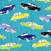 M Makower Transport - 3454 - Retro Cars on Turquoise Check - 5631 T35 - Cotton Fabric